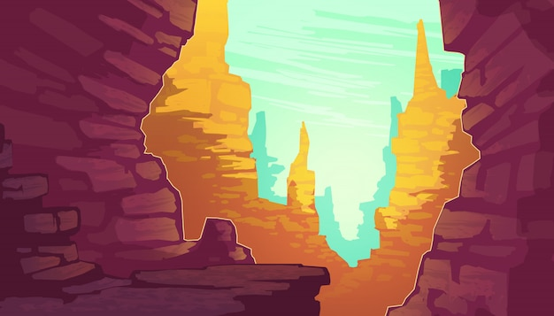 Ilustracja kreskówka wielkiego kanionu, park narodowy stanu arizona na rzece kolorado.