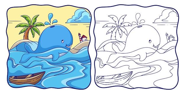 Ilustracja kreskówka wieloryb pływa w morzu i tryska wodą znad głowy, kolorowanka lub strona dla dzieci