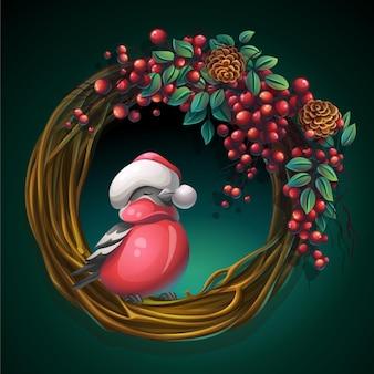 Ilustracja kreskówka wieniec winorośli i liści na zielonym tle z jagodami popiołu i gil