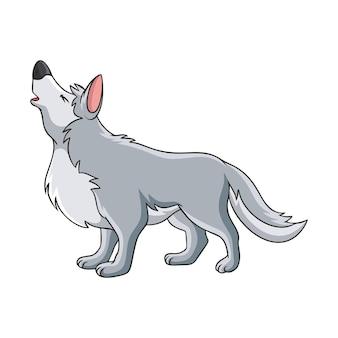 Ilustracja kreskówka wilk ryk