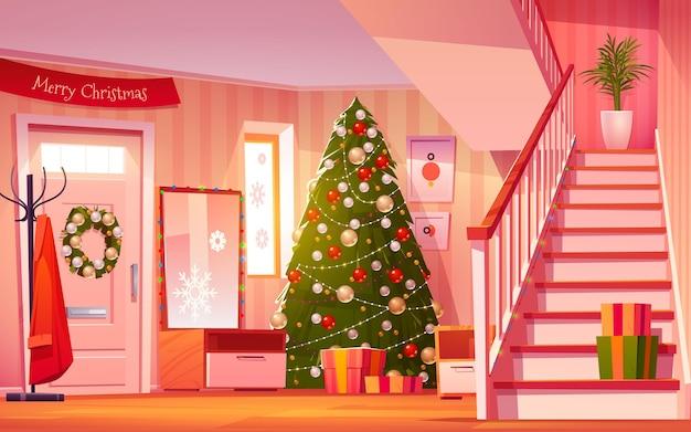 Ilustracja kreskówka wnętrze sali bożego narodzenia