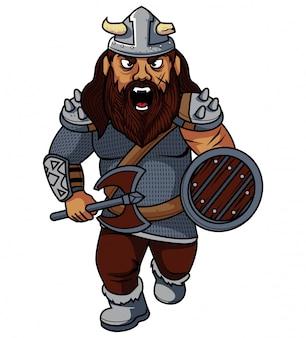 Ilustracja kreskówka wojownik wikingów