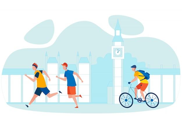 Ilustracja kreskówka wycieczka rowerowa miasta