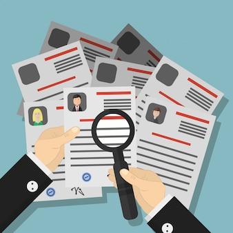 Ilustracja kreskówka wynajmu firmy. koncepcja ogłoszenia o zatrudnieniu, rozmowy kwalifikacyjnej, zatrudnienia, cv i rekrutacji.