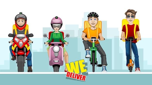 Ilustracja kreskówka z czterech mężczyzn dostawy na różnych pojazdach na tle miasta.