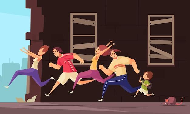 Ilustracja kreskówka z przerażonymi ludźmi uciekającymi przed szczurem