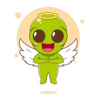 Ilustracja kreskówka z uroczą postacią obcego jako anioł