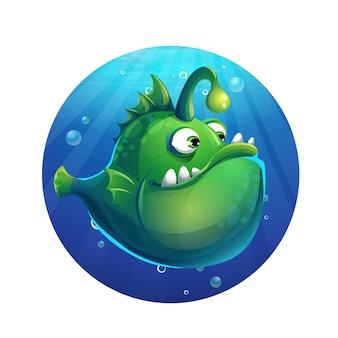 Ilustracja kreskówka zabawna zielona ryba
