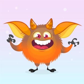 Ilustracja kreskówka zabawny potwór