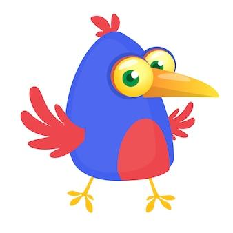 Ilustracja kreskówka zabawny ptak