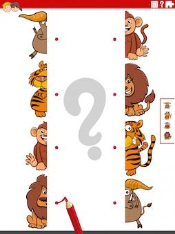 Ilustracja kreskówka zadania edukacyjnego polegającego na dopasowywaniu połówek obrazków z komiksowymi postaciami dzikich zwierząt