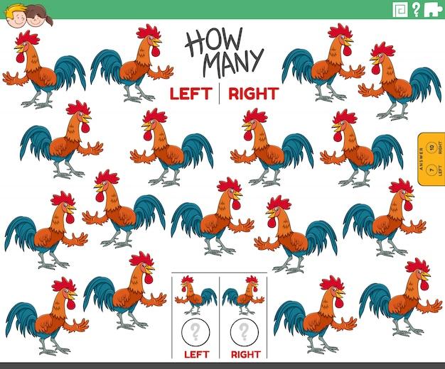 Ilustracja kreskówka zadania edukacyjnego polegającego na liczeniu lewych i prawostronnych obrazków postaci zwierząt gospodarskich ptaków koguta