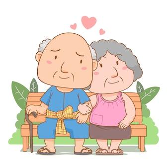 Ilustracja kreskówka zakochanych dziadków, siedząc na ławce w ogrodzie. narodowy dzień dziadków.