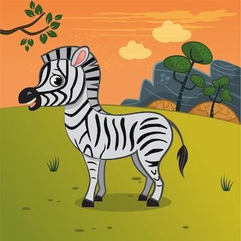 Ilustracja kreskówka zebra na sawannie ilustracja wektorowa