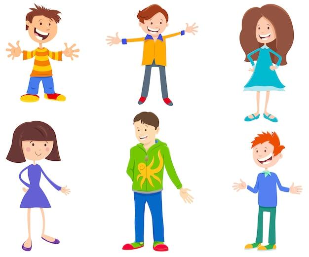 Ilustracja kreskówka zestaw dzieci i młodzieży