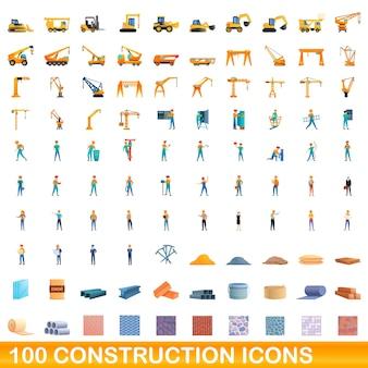Ilustracja kreskówka zestaw ikon budowlanych na białym tle