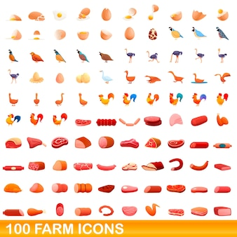 Ilustracja kreskówka zestaw ikon gospodarstwa na białym tle
