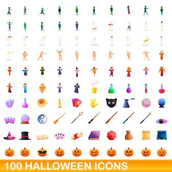 Ilustracja kreskówka zestaw ikon halloween na białym tle