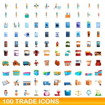 Ilustracja kreskówka zestaw ikon handlu na białym tle