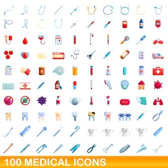 Ilustracja kreskówka zestaw ikon medycznych na białym tle