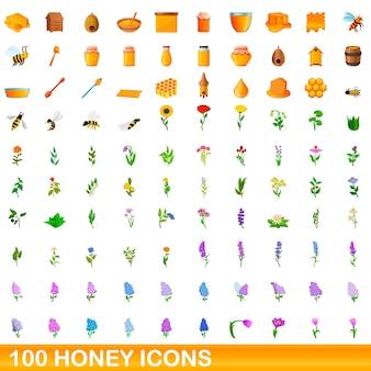 Ilustracja kreskówka zestaw ikon miodu na białym tle
