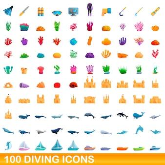Ilustracja kreskówka zestaw ikon nurkowania na białym tle