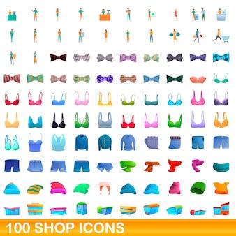 Ilustracja kreskówka zestaw ikon sklepu na białym tle