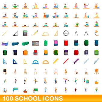 Ilustracja kreskówka zestaw ikon szkoły na białym tle