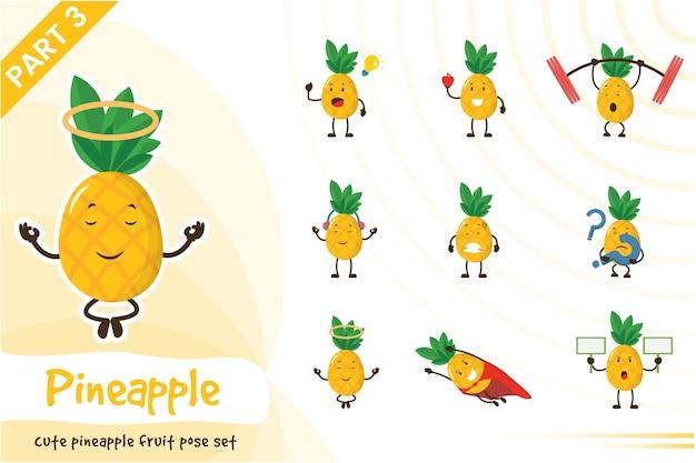 Ilustracja kreskówka zestaw ładny owoc ananasa