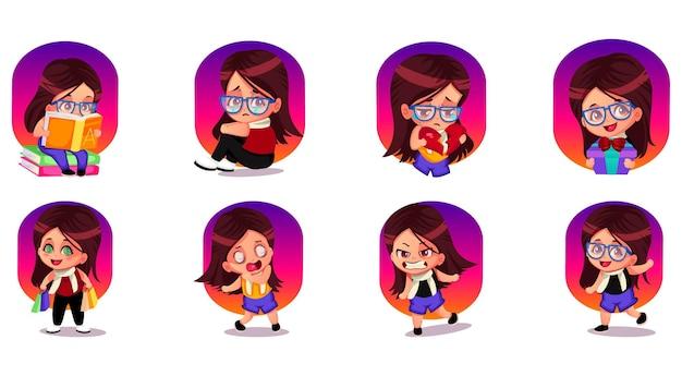 Ilustracja kreskówka zestaw naklejek dziewczyna
