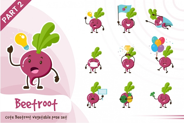 Ilustracja kreskówka zestaw owoców ładny burak