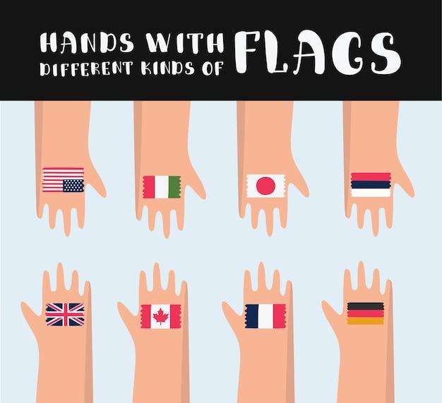 Ilustracja kreskówka zestaw rąk z narysowanymi różnymi flagami