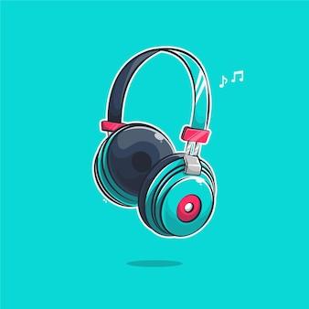 Ilustracja kreskówka zestaw słuchawkowy