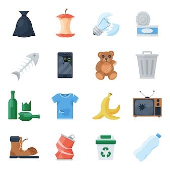 Ilustracja kreskówka zestaw śmieci
