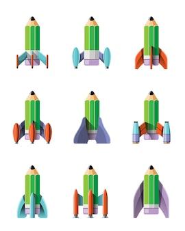 Ilustracja kreskówka zestaw startowy rakiety na białym tle. rakiety misji kosmicznej z dymem. ilustracja w stylu mieszkania