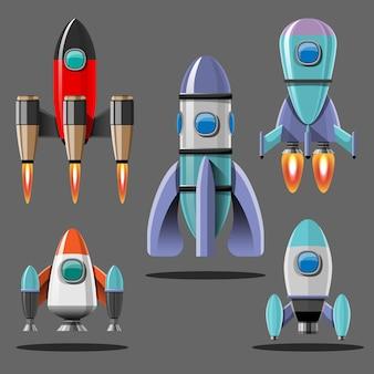 Ilustracja kreskówka zestaw startowy rakiety na białym tle. rakiety misji kosmicznych z dymem