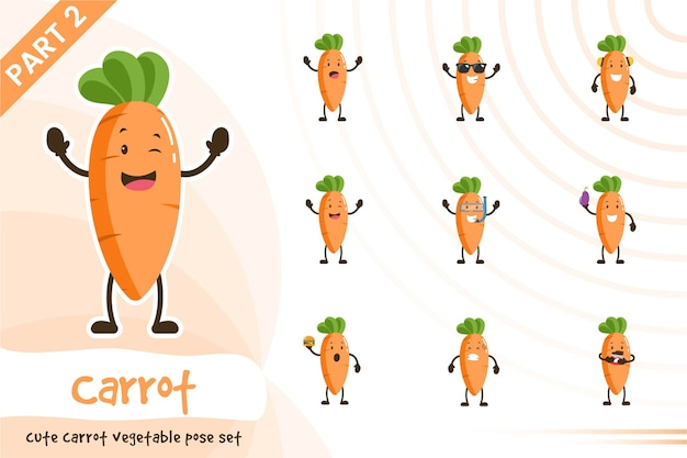 Ilustracja kreskówka zestaw warzyw marchewki