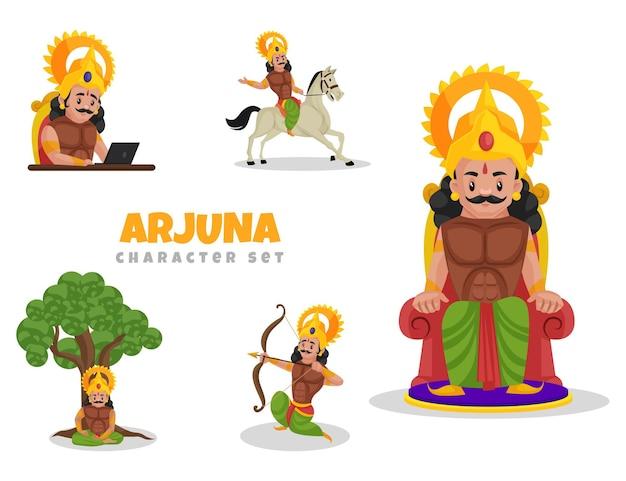 Ilustracja kreskówka zestaw znaków arjuna