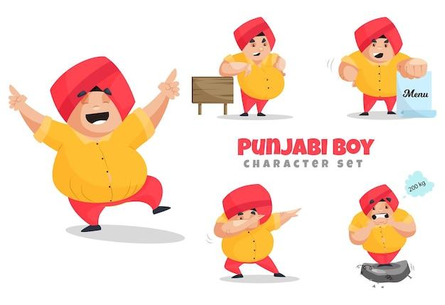 Ilustracja kreskówka zestaw znaków chłopiec pendżabski