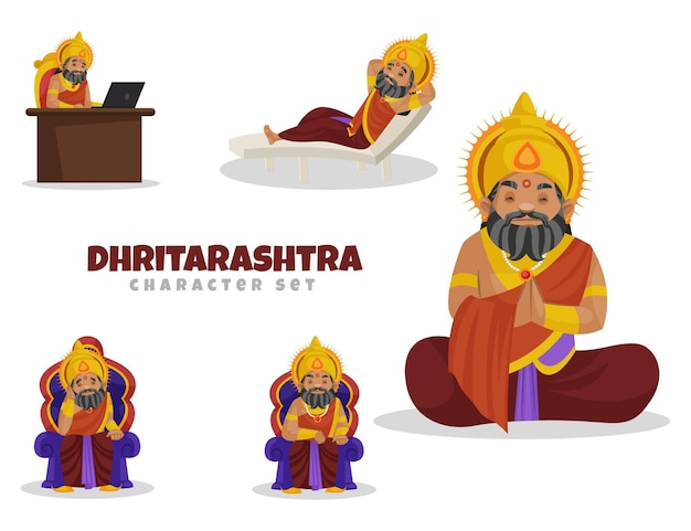 Ilustracja kreskówka zestaw znaków dhritarashtra