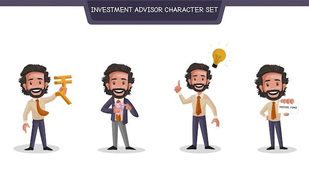 Ilustracja kreskówka zestaw znaków doradcy inwestycyjnego