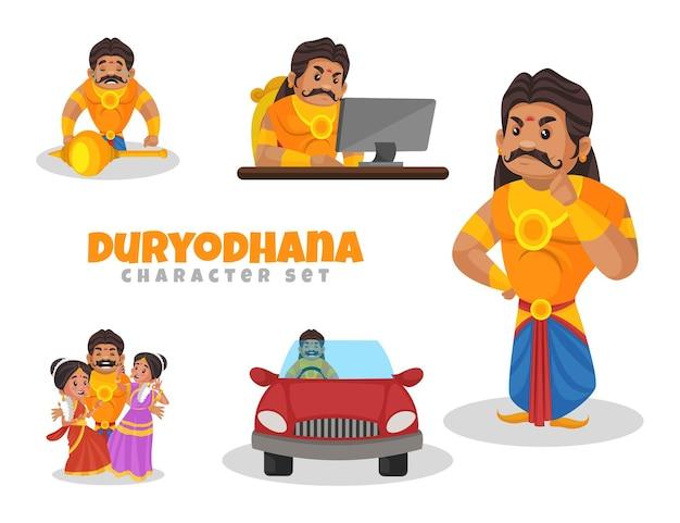 Ilustracja kreskówka zestaw znaków duryodhana