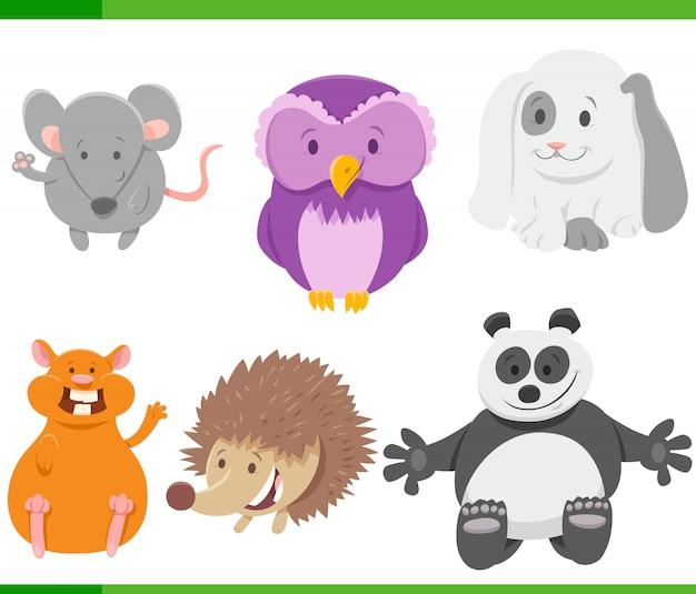Ilustracja kreskówka zestaw znaków dzikich zwierząt