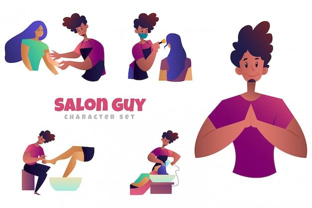 Ilustracja kreskówka zestaw znaków facet salon