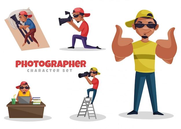 Ilustracja kreskówka zestaw znaków fotografa