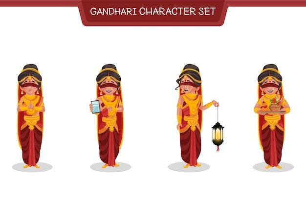 Ilustracja kreskówka zestaw znaków gandhari