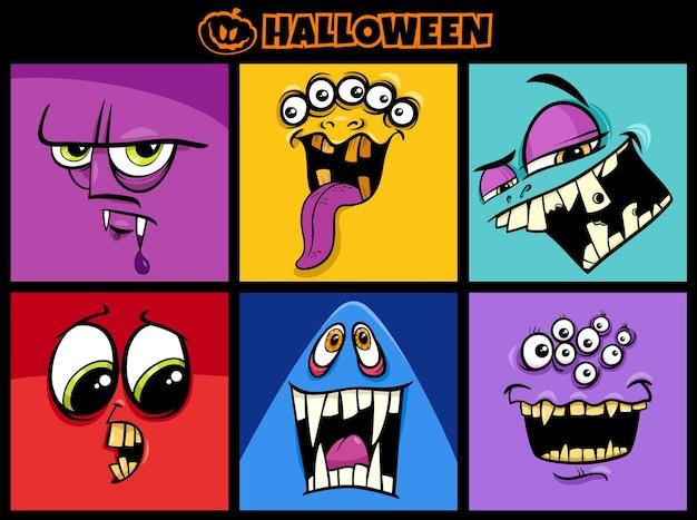 Ilustracja kreskówka zestaw znaków halloween przerażające potwory