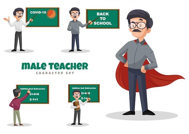 Ilustracja kreskówka zestaw znaków męskiego nauczyciela