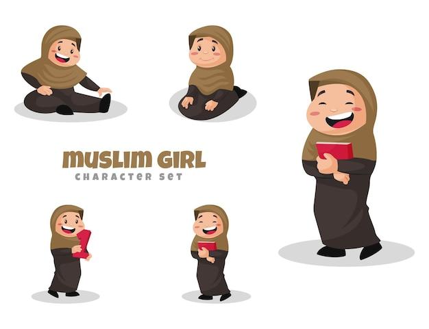 Ilustracja kreskówka zestaw znaków muzułmańskiej dziewczyny