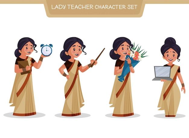 Ilustracja kreskówka zestaw znaków pani nauczyciel